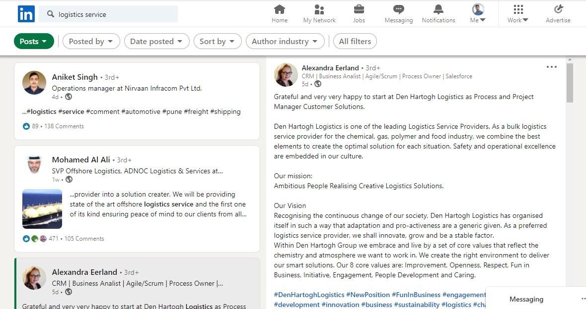 Linkedin Advanced search feature